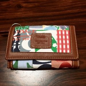 COACH Trifold Compact Leather Monogram Wallet